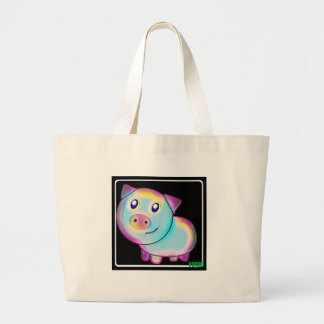 Vegan coloured pig. large tote bag
