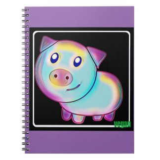 Vegan coloured pig notebook