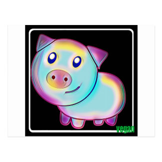 Vegan coloured pig postcard