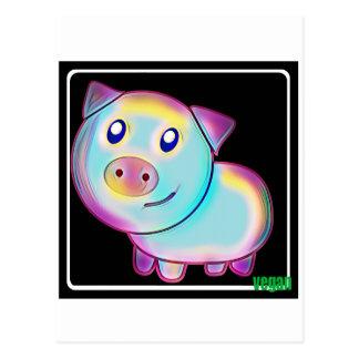 Vegan coloured pig postcard