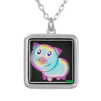Vegan coloured pig silver plated necklace