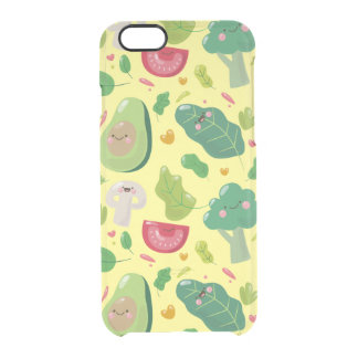 Vegan cute cartoon vegetable characters pattern clear iPhone 6/6S case