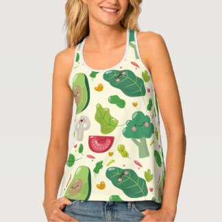 Vegan cute cartoon vegetable characters pattern tank top