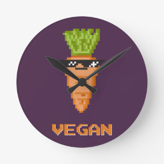 "Vegan ""Deal With It"" Carrot Round Clock"