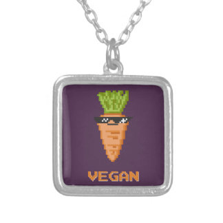 """Vegan """"Deal With It"""" Carrot Silver Plated Necklace"""