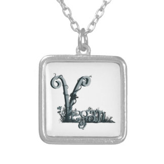 vegan design silver plated necklace