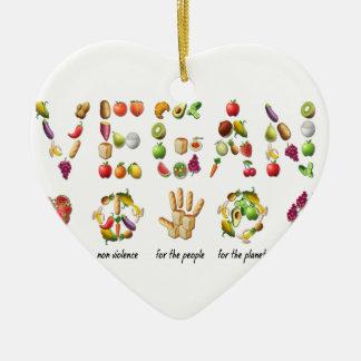 Vegan Emoji Collage Earth Animals People Peace Ceramic Heart Ornament
