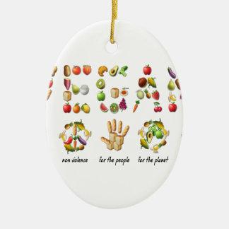 Vegan Emoji Collage Earth Animals People Peace Ceramic Oval Ornament