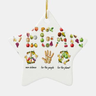 Vegan Emoji Collage Earth Animals People Peace Ceramic Star Ornament