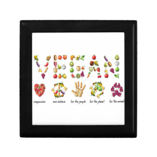 Vegan Emoji Collage Earth Animals People Peace Gift Box