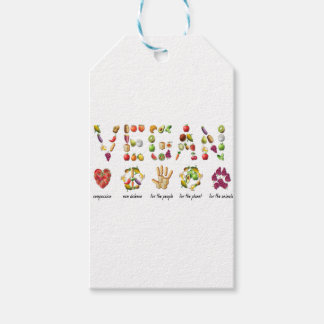 Vegan Emoji Collage Earth Animals People Peace Gift Tags