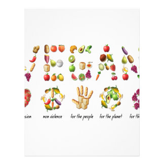 Vegan Emoji Collage Earth Animals People Peace Letterhead