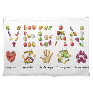 Vegan Emoji Collage Earth Animals People Peace Placemat