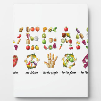 Vegan Emoji Collage Earth Animals People Peace Plaque