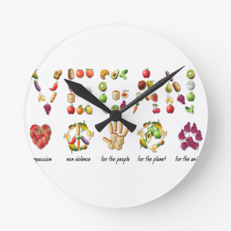 Vegan Emoji Collage Earth Animals People Peace Round Clock