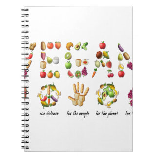 Vegan Emoji Collage Earth Animals People Peace Spiral Notebook