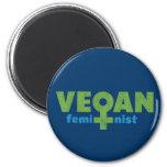 Vegan Feminist 2 Inch Round Magnet