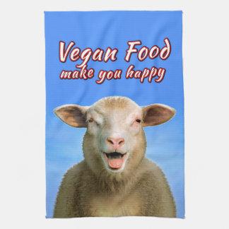 VEGAN FOOD make you happy Kitchen Towel