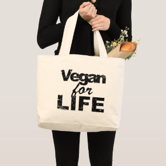 Vegan for LIFE (blk) Large Tote Bag