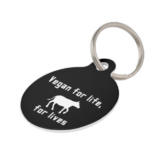 Vegan for life pet name tag