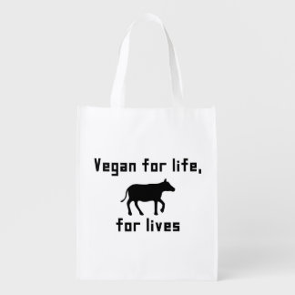 Vegan for life reusable grocery bag