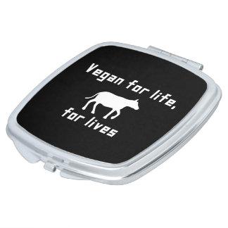 Vegan for life travel mirror