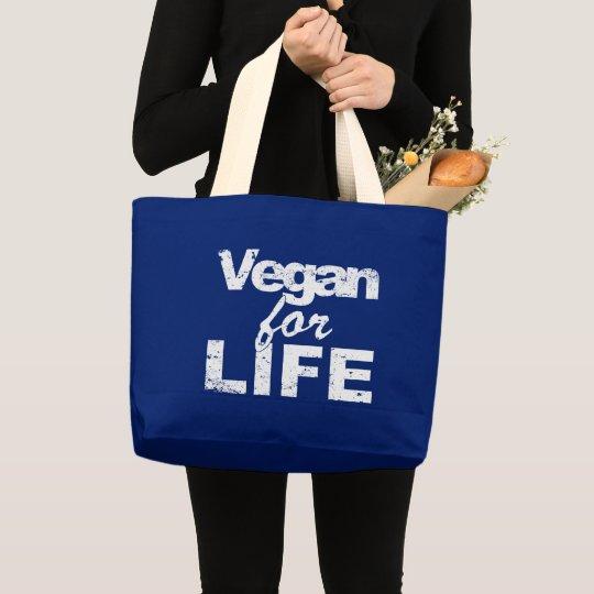 Vegan for LIFE (wht) Large Tote Bag