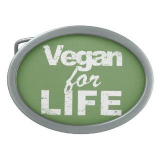 Vegan for LIFE (wht) Oval Belt Buckles