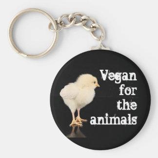 Vegan for the animals - Chick Basic Round Button Keychain