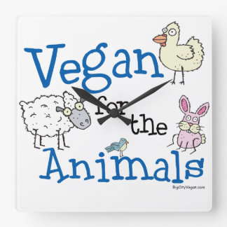Vegan for the Animals Square Wall Clock