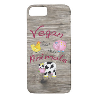 """""""Vegan for the Animals"""" with Cute Pig, Cow & Hen iPhone 7 Case"""