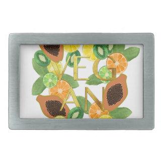 Vegan fruit rectangular belt buckle