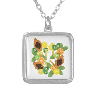 Vegan fruit silver plated necklace