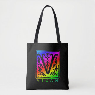 Vegan Gothic V Rainbow Tote Bag