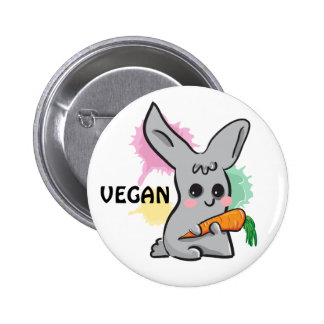 Vegan grey cute bunny with carrot button