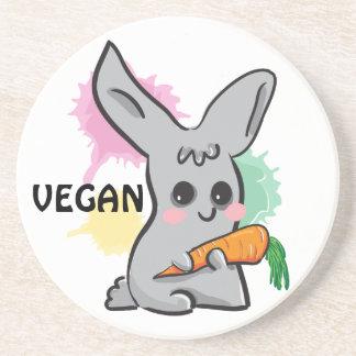 Vegan grey cute bunny with carrot coaster