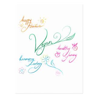 Vegan & happy lifestyle postcard