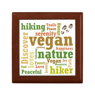 Vegan Hiker Hiking Word Cloud Gift Box