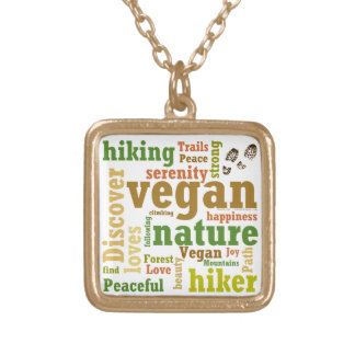Vegan Hiker Hiking Word Cloud Gold Plated Necklace