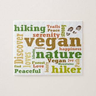 Vegan Hiker Hiking Word Cloud Jigsaw Puzzle