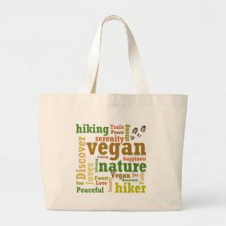 Vegan Hiker Hiking Word Cloud Large Tote Bag
