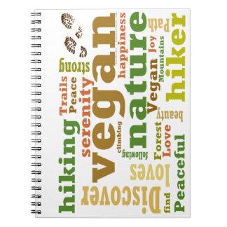 Vegan Hiker Hiking Word Cloud Notebook