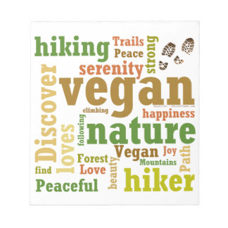 Vegan Hiker Hiking Word Cloud Notepad