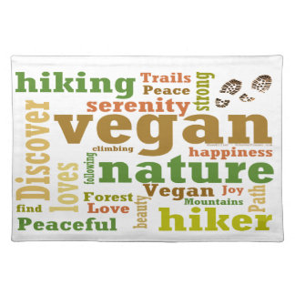 Vegan Hiker Hiking Word Cloud Placemat