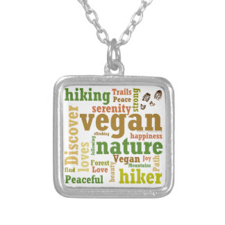 Vegan Hiker Hiking Word Cloud Silver Plated Necklace