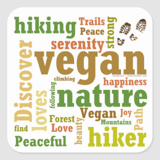 Vegan Hiker Hiking Word Cloud Square Sticker