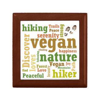 Vegan Hiker Hiking Word Cloud Trinket Boxes
