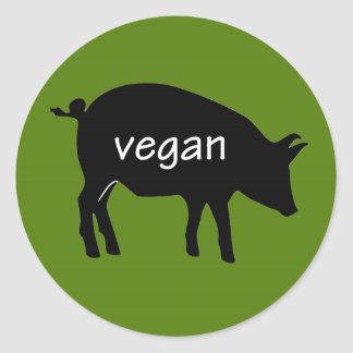 Vegan (in a pig design) classic round sticker