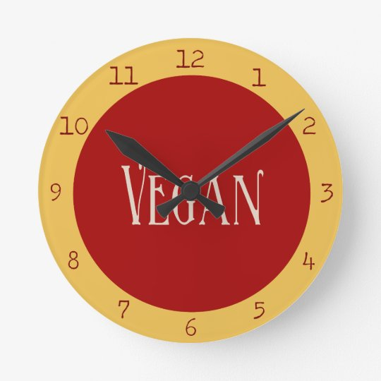 Vegan in a Red Circle Clocks