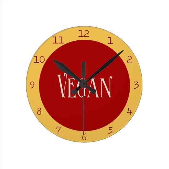 Vegan in a Red Circle Round Clock
